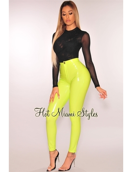 Neon Lime Latex Stretchy High Waist Pants by Hot Miami Style