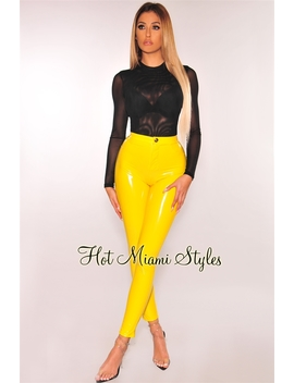 Yellow Latex Stretchy High Waist Pants by Hot Miami Style