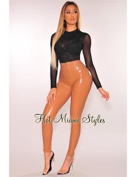 Mocha Latex Stretchy High Waist Pants by Hot Miami Style