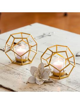Sparkling Gold Polyhedron Iron Candle Holder With Glass (Set Of 2) by Danya B