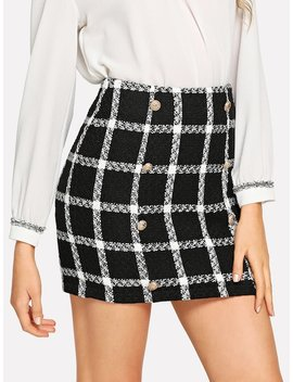 Double Breasted Detail Plaid Tweed Skirt by Shein