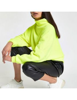 Neon Yellow High Neck Batwing Sleeve Jumper by River Island