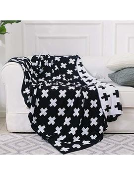 Dokot Black And White Throw Blanket Swiss Cross Pattern 100 Percents Cotton Knitted (51x63 Inches, Swiss Cross) by Dokot