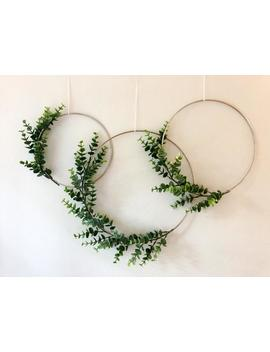 Metal Hoop Wreath Simplistic Shabby Chic Green Eucalyptus Wreath Succulent Gold Or Brass Simple Wedding Baby Nursery Rustic by Etsy