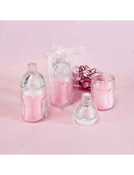 """Lunaura Baby Keepsake   Set Of 12 """"Girl"""" Glass Baby Bottle Scented Candle   Pink by Lunaura"""