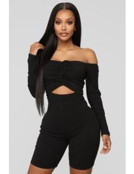 Stuck In The Middle Romper   Black by Fashion Nova