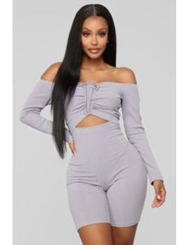 Stuck In The Middle Romper   Lavender by Fashion Nova