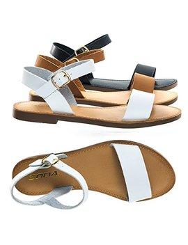 Bonnibel Open Toe Flat Sandal W Adjustable Ankle Strap by Bonnibel