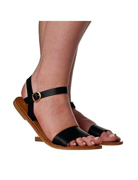 Riverberry Women's Lila Open Toe, Strap Flat Sandals by Riverberry