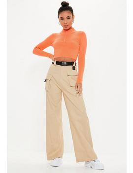 Petite Sand Utility Cargo Trousers by Missguided