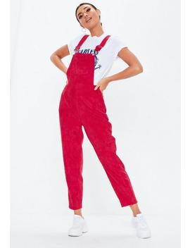 Red Cord Dungaree Jumpsuit by Missguided