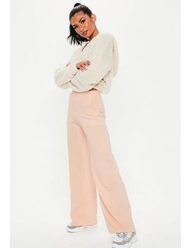 Petite Pink Contrast Stitch Trousers by Missguided