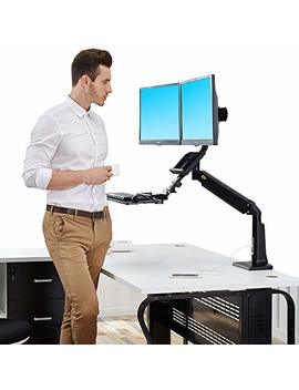 North Bayou Sit Stand Desk Converter Height Adjustable Standing Desk Workstation For Two Screens Up To 24'' 33lbs Computer Monitor Mount Arm With Keyboard Tray Black by Nb North Bayou