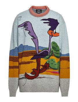 X Looney Tunes Gemusterter Pullover Aus Schurwolle by Calvin Klein 205 W39 Nyc
