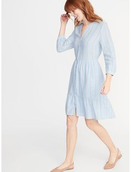 Waist Defined Striped Shirt Dress For Women by Old Navy