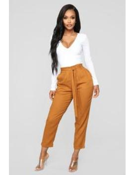 It's A Classic Tie Waist Pants   Brown by Fashion Nova