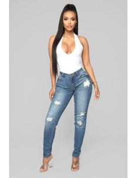 On The High Rise Ankle Jeans   Medium Blue Wash by Fashion Nova