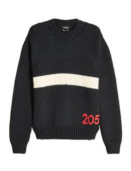 Gestreifter Woll Pullover Mit Stickerei by Calvin Klein 205 W39 Nyc