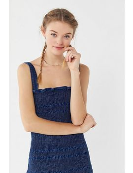 Uo Sofia Denim Smocked Mini Dress by Urban Outfitters