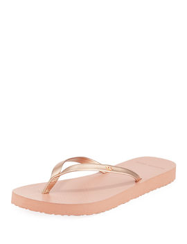 Metallic Leather Flip Flops by Tory Burch