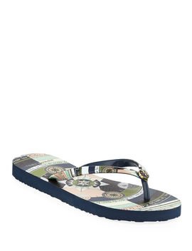 Printed Flip Flop Sandals by Tory Burch