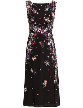 Juno Tie Back Floral Print Silk Crepe De Chine Midi Dress by Erdem