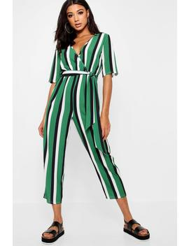 Striped Wrap Front Tapered Leg Jumpsuit by Boohoo