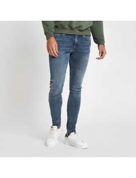 Mid Blue Danny Super Skinny Zip Hem Jeans by River Island