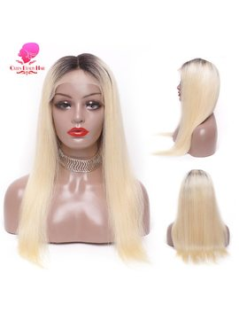 Queen 1 B 613 Blonde Ombre Color Remy Brazilian Straight Wig Long Pre Plucked Glueless Lace Front Human Hair Wigs For Black Women by Queen Beauty Hair