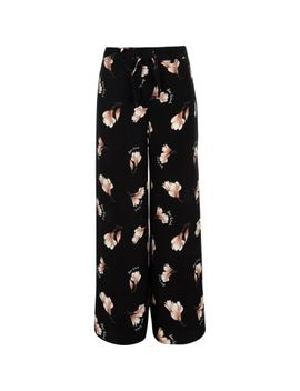 Girls Black Floral Wide Leg Trousers by River Island