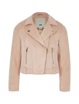 Girls Coral Faux Suede Biker Jacket by River Island