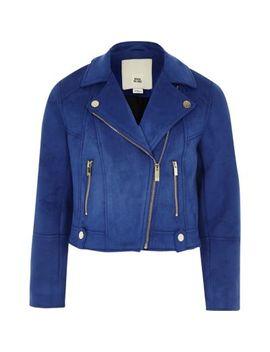 Girls Blue Faux Suede Biker Jacket by River Island