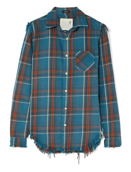 Boy Distressed Checked Cotton Flannel Shirt by R13