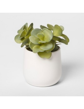 "6"" X 5"" Artificial Sedum In Pot Green/White   Threshold™ by Threshold"