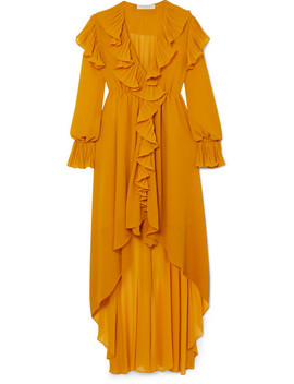 Asymmetric Ruffled Crepon Midi Dress by Philosophy Di Lorenzo Serafini