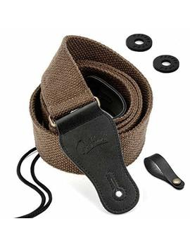 Best Sounds Guitar Strap 100 Percents Soft Cotton Genuine Leather Ends Strap For Acoustic Guitar, Electric Guitar, Bass, Banjos & Mandolins (Coffee) by Best Sounds