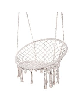 Techcell Hammock Chair Macrame Swing,Cotton Hanging Macrame Hammock Swing Chair Ideal For Indoor, Outdoor, Home,Bedroom, Patio, Deck, Yard, Garden (White) by Techcell
