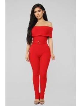 I Believe You Ribbed Jumpsuit   Red by Fashion Nova