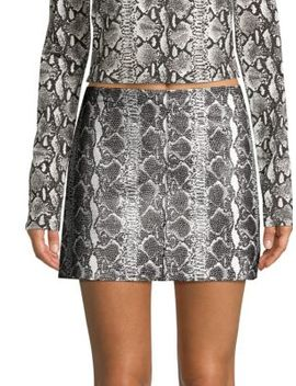 Elana Snakeskin Leather Mini Skirt by Alice + Olivia