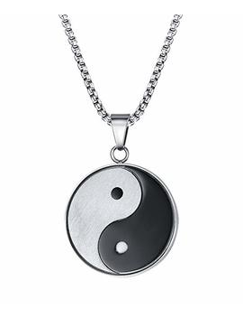 "Stainless Steel Tai Chi Yin And Yang Black White Brushed Finish Round Pendant Necklace For Men  With 20"" Chain by Amazon"