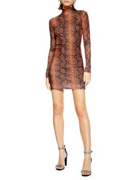 Snake Funnel Mini Dress by Topshop