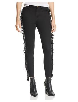 Fringed Skinny Jeans In Black   100 Percents Exclusive by Aqua