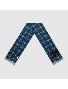 Check Wool Scarf With Wolf by Gucci