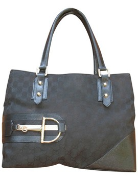 Horsebit Gg And Hasler Black Canvas Leather Tote by Gucci