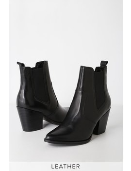 Patricia Black Leather Chelsea Boot by Steve Madden