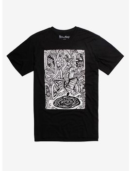 Rick And Morty Black & White Portal T Shirt Hot Topic Exclusive by Hot Topic