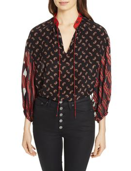 Blouson Sleeve Mixed Print Top by Alice + Olivia