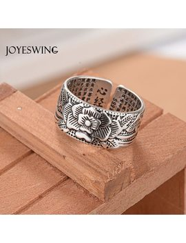 Joyeswing Vintage Ring Amulet Buddha Lotus Baltic Buddhist Chinese Letter Opening Rings Men&Women Good Luck Gift Jewelry Ring by Joyeswing