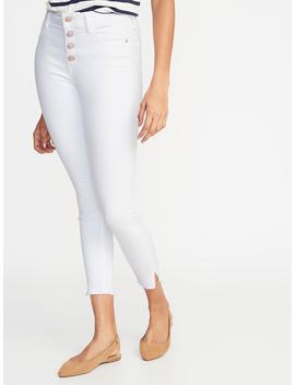 High Rise Secret Slim Pockets Button Fly Rockstar Raw Edge Ankle Jeans For Women by Old Navy