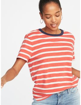 Striped Boyfriend Ringer Tee For Women by Old Navy